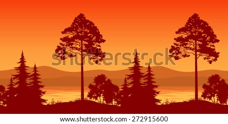 Seamless Horizontal Landscape, Pine Trees and Bushes on the Bank of a Mountain Lake, Silhouettes. Vector - stock vector