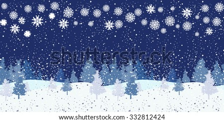 Seamless horizontal night winter pattern
