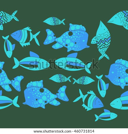 Seamless  horizontal pattern of  stylized  motif, doodles,  spot,fishes,ellipses, zigzag, copy space . Hand drawn.