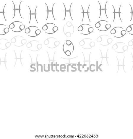 Seamless   horizontal pattern  of zodiac signs, doodles, object,cancer, pisces, copy space. Hand drawn.