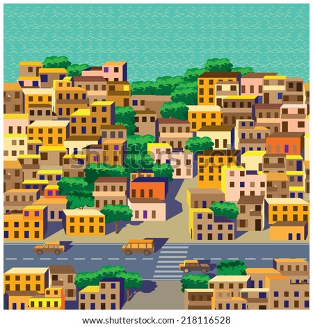 seamless horizontal stylized composition of the old district of the big city - stock vector