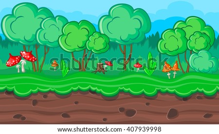 Seamless horizontal summer background with amanitas for video game - stock vector