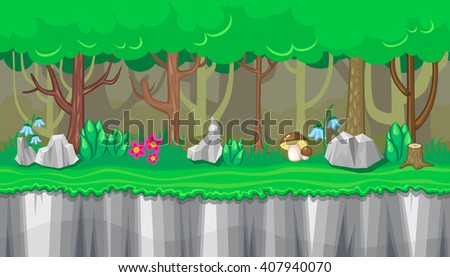 Seamless horizontal summer background with boletus and rocks for video game - stock vector