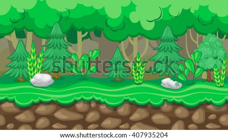 Seamless horizontal summer background with fir trees and white rocks for video game - stock vector