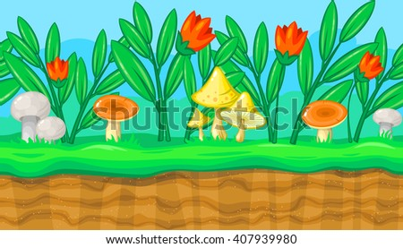 Seamless horizontal summer background with flowers and big colorful mushrooms for video game - stock vector