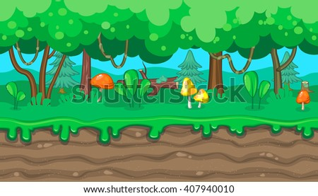 Seamless horizontal summer background with mushrooms and lianas for video game - stock vector