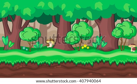 Seamless horizontal summer background with old and young trees and boletus for video game - stock vector