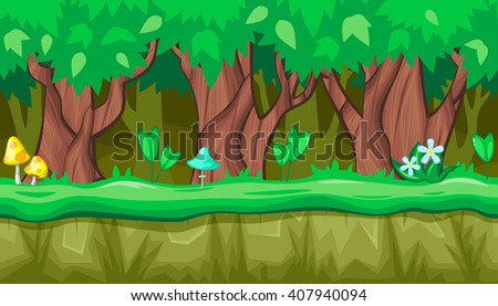 Seamless horizontal summer background with old trees and blue mushroom for video game - stock vector