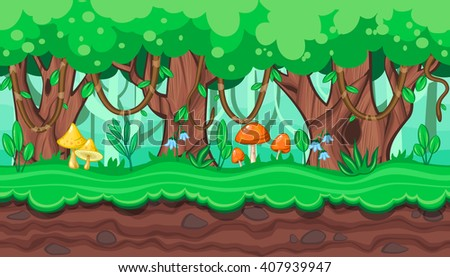 Seamless horizontal summer background with old trees and bright mushrooms for video game