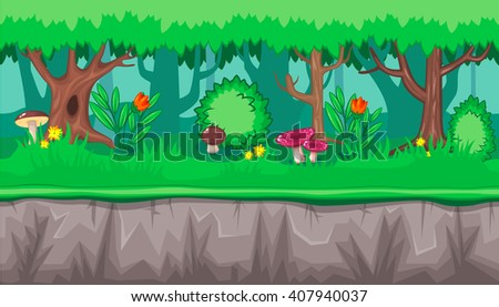 Seamless horizontal summer background with pink mushrooms and red flowers for video game