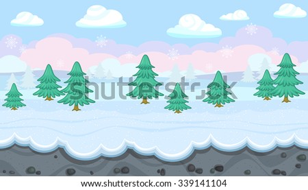 Seamless horizontal winter background with fir trees for video game