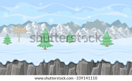 Seamless horizontal winter background with mountains and firs for video game - stock vector