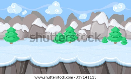 Seamless horizontal winter background with round mountains for video game