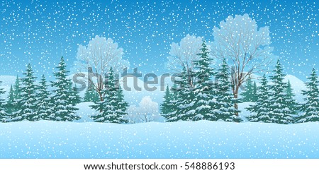 Seamless Horizontal Winter Christmas Mountain Woodland Landscape with Trees and Snowflakes. Eps10, Contains Transparencies. Vector