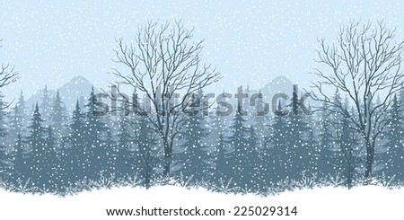 Seamless horizontal winter mountain landscape with trees and snow, silhouettes. Eps10, contains transparencies. Vector - stock vector