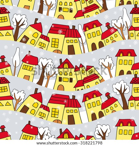 seamless house in winter  - stock vector