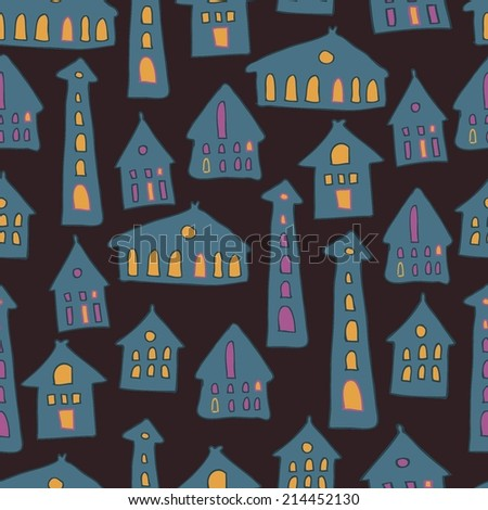 Seamless house pattern, vector background