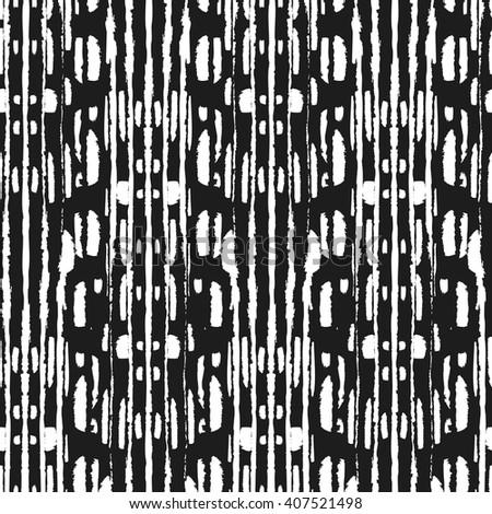 Seamless  Ikat Pattern. Abstract black and white background for textile design, wallpaper, surface textures