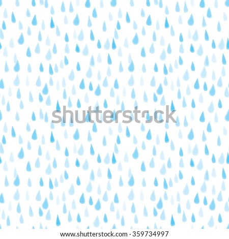 Seamless illustrated pattern made hand drawn rain drops