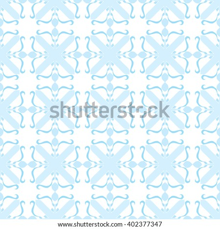 Seamless illustrated pattern made of abstract blue and white elements