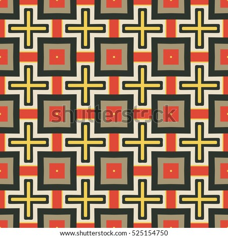 Seamless illustrated pattern made of abstract elements in black, red, yellow and brown
