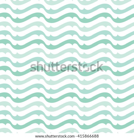 Seamless illustrated pattern made of abstract turquoise and white wave elements