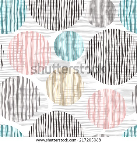 Seamless image with rounds. Vector hand drawn background. Abstract decorative illustration. - stock vector