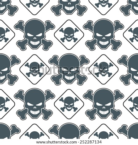 Seamless image with skulls - stock vector