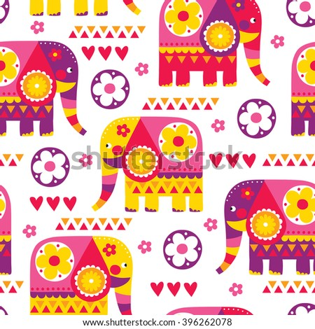 seamless indian ornament elephant pattern vector illustration - stock vector
