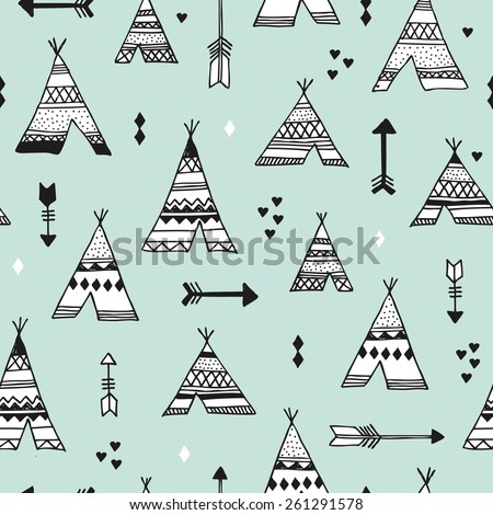 Seamless indian summer woodland arrows and teepee illustration aztec background pattern in vector - stock vector