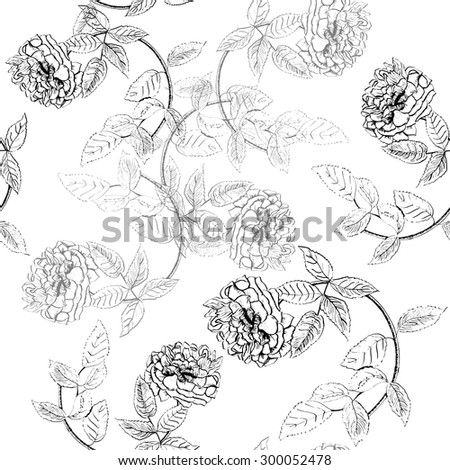 Seamless ink drawing flower pattern, scalable vector graphic