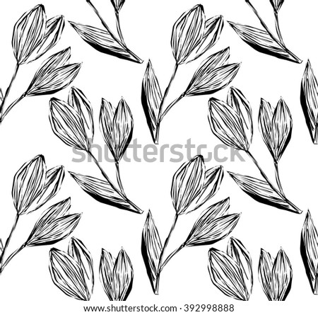 Seamless ink pattern of freehand drawing and hatched snowdrops on a white background. Vector Eps10.  - stock vector