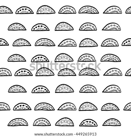 Seamless ink pattern of pineapple halves.