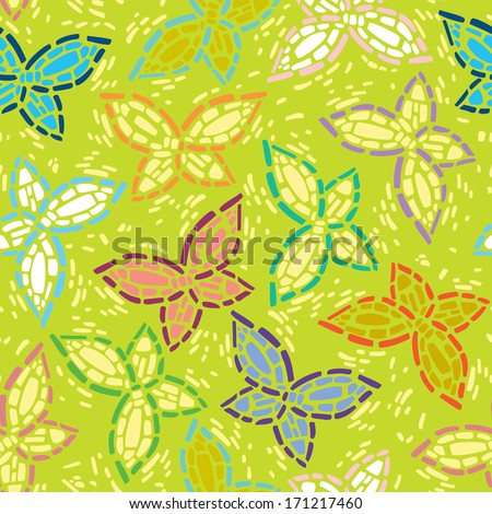seamless inlay of mosaic images of butterflies. Lime spring background, colorful wings. - stock vector