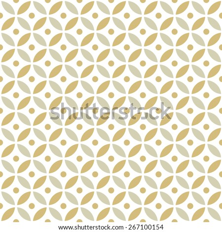 Seamless Intersecting Geometric Vintage Gold Circle Pattern - stock vector