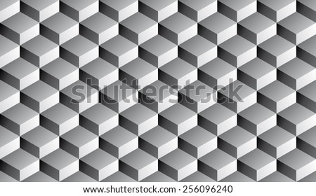 Seamless isometric grayscale gradient flattened cubes optical illusion pattern vector - stock vector