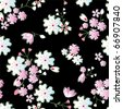 Seamless japanese blossoms pattern. Illustration vector. - stock vector