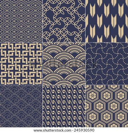 seamless japanese mesh pattern - stock vector