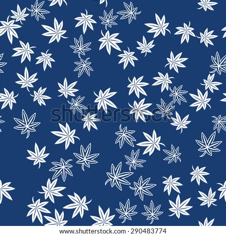 Seamless Japanese Pattern of Scattering Maple Leaves.