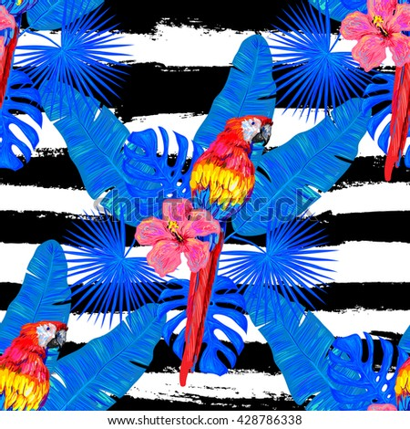 Seamless jungle tropical pattern with parrot exotic bird, palm leaves, flowers vector background perfect for wallpaper, pattern fills, web page backgrounds, surface textures, textile. Exotic pattern - stock vector