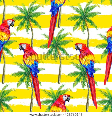 Seamless jungle tropical pattern with parrot exotic bird, palm trees vector background perfect for wallpaper, pattern fills, web page backgrounds, surface textures, textile. Exotic pattern with parrot - stock vector