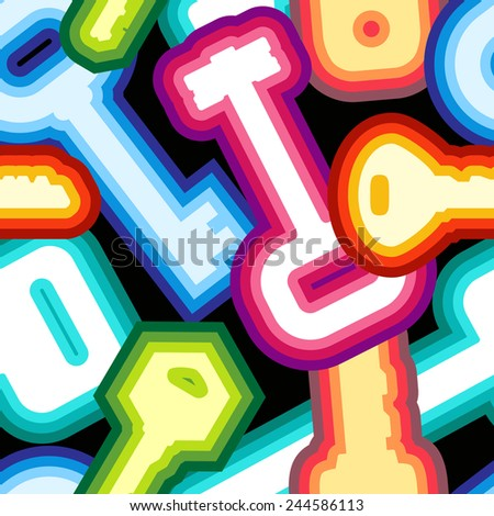 Seamless key mix pattern in neon style. Modern and fashion colorful keys on black