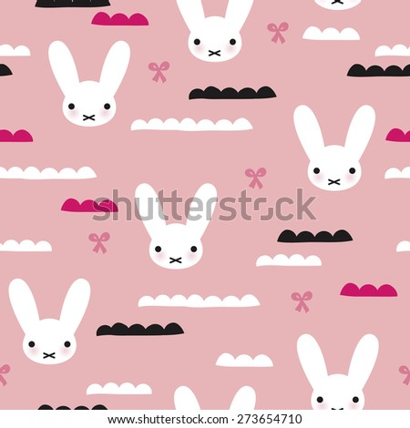 Seamless kids adorable white bunny and bow girls illustration japanese background pattern in vector - stock vector