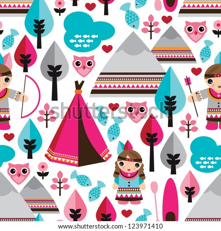 Seamless kids American indian native teepee retro owl background pattern in vector - stock vector