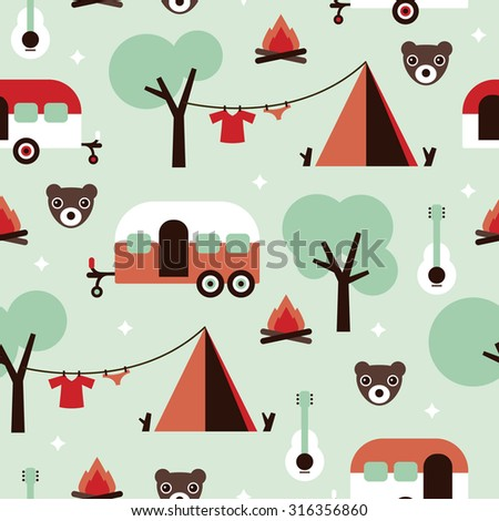 Seamless kids canadian woodland camping grizzly bears and caravan camper van illustration background pattern in vector - stock vector