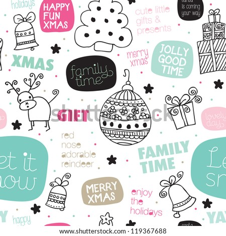 Seamless kids christmas greeting card typography illustration background pattern in vector - stock vector