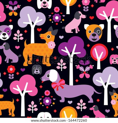 Seamless kids fabric dogs illustration cute pet background pattern in vector