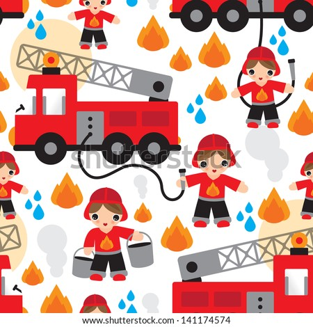 Seamless kids fire men and truck illustration background pattern in vector - stock vector