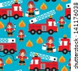 Seamless kids fire men and truck illustration blue background pattern in vector - stock vector