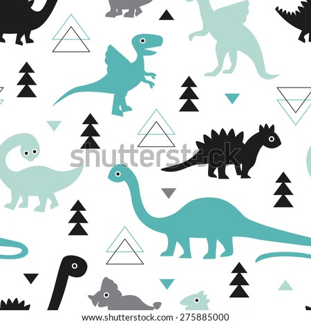 Seamless kids geometric animals dinosaur arrows and triangle illustration background pattern in vector - stock vector